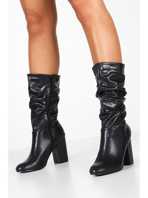 Boohoo Rouched Calf High Boots