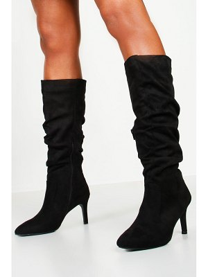 Boohoo Rouched Knee High Stiletto Boots