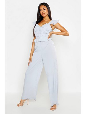 Boohoo Rouched Ruffle Culotte Jumpsuit