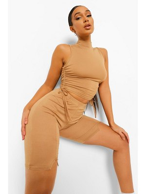 Boohoo Rouched Side High Neck Crop Top