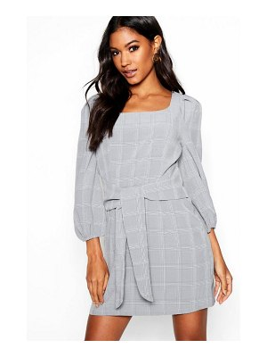 Boohoo Rouched Sleeve Tie Waist Checked Shift Dress