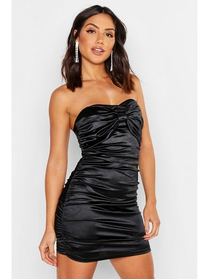 Boohoo Ruched Bandeau Stretch Satin Mini Dress