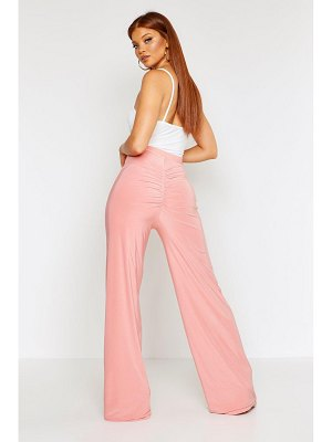 Boohoo Ruched Bum Double Layer Slinky Wide Leg Pants