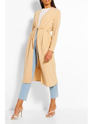 Boohoo Ruched Detail Belted Duster Coat