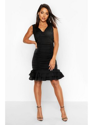 Boohoo Ruched Frill Hem Mini Dress