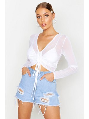 Boohoo Ruched Front Long Sleeve Mesh Crop Top