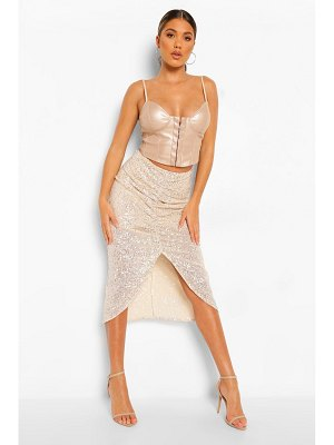 Boohoo Ruched Front Sequin Midi Skirt