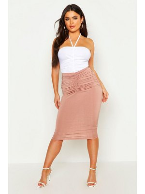 Boohoo Ruched Front Midi Skirt