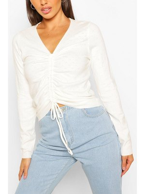 Boohoo Ruched Front Sweater