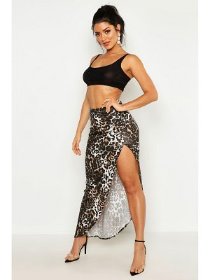 Boohoo Ruched Side Jersey Leopard Maxi Skirt