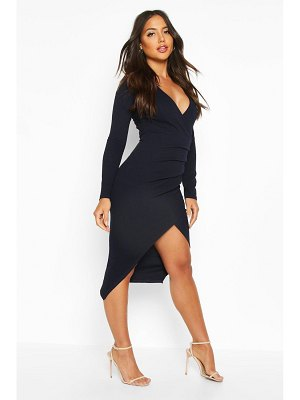 Boohoo Ruched Side Wrap Over Tailored Midi Dress