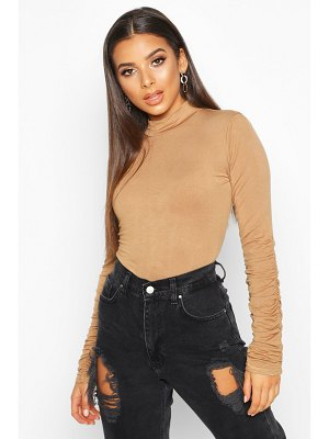 Boohoo Ruched Sleeve High Neck Top