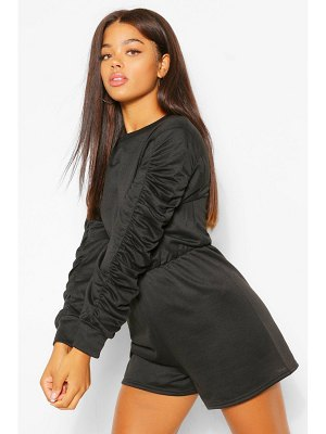 Boohoo Ruched Sleeve Loopback Sweat Romper