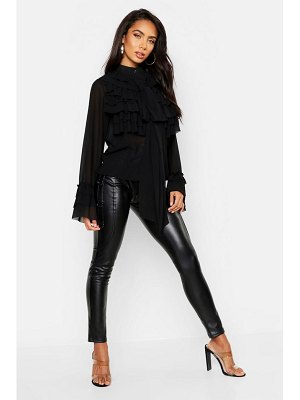 Boohoo Ruffle Detail Long Sleeve Blouse