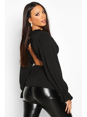 Boohoo Ruffle Detail Open Back Peplum Top