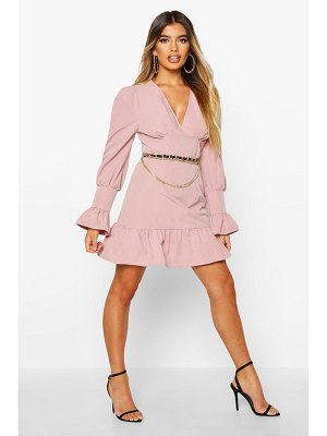 Boohoo Ruffle Detail Plunge Smock Dress