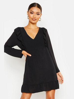 Boohoo Ruffle Detail Smock Dress
