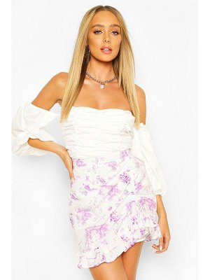 Boohoo Ruffle Front Floral Mini Skirt