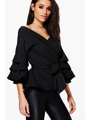 Boohoo Ruffle Tiered Sleeve Wrap Top