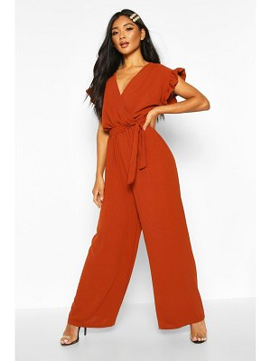 Boohoo Rustle Sleeve Wide Leg Jumpsuit