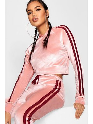 Boohoo Sarah Side Stripe Velour Cropped Hoodie