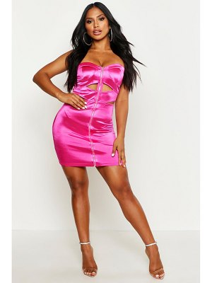 Boohoo Satin Bandeau Zip Mini Dress