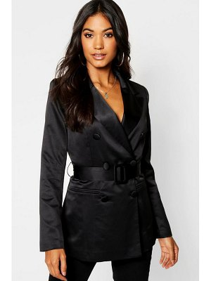 Boohoo Satin Belted Double Breasted Blazer