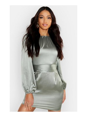 Boohoo Satin Blouson Sleeve Mini Dress
