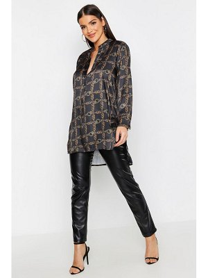 Boohoo Satin Chain Print Oversized Collarless Shirt
