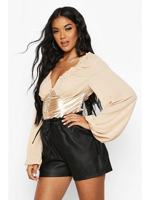 Boohoo Satin Corset Ruched Front Top