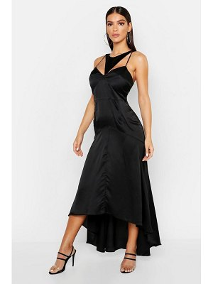 Boohoo Satin Cupped Cut Out Maxi Dress