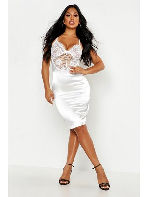 Boohoo Satin Lace Cupped Bodycon Dress