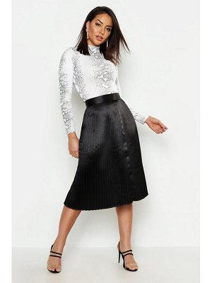 Boohoo Satin Pleated Midi Skirt