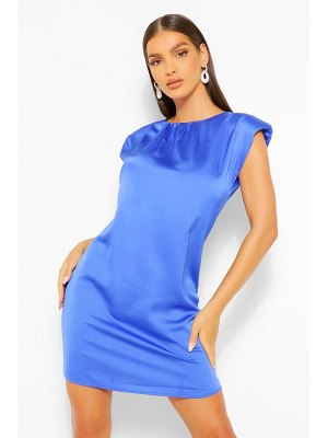 Boohoo Satin Shoulder Pad Shift Dress
