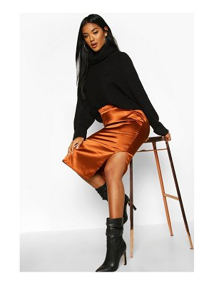 Boohoo Satin Split Side Midi Skirt