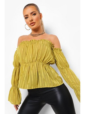 Boohoo Satin Stripe Off The Shoulder Top