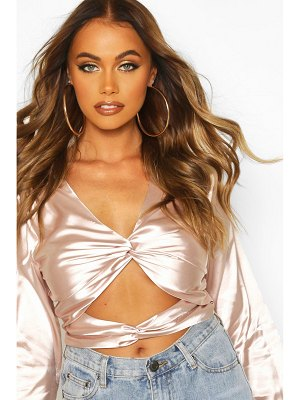 Boohoo Satin Twist Front Crop Top