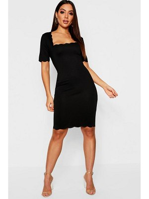 Boohoo Scallop Edge Midi Dress