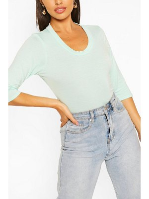 Boohoo Scoop Neck Shirt Sleeve Top