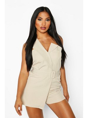Boohoo Self Belted Strapless Tailored romper