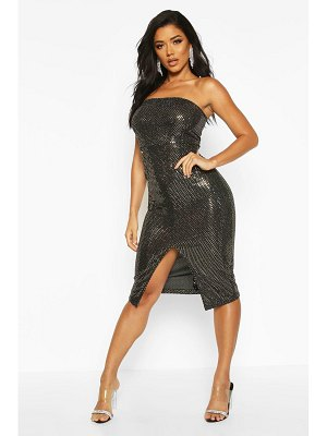 Boohoo Sequin Bandeau Front Split Midi Dress
