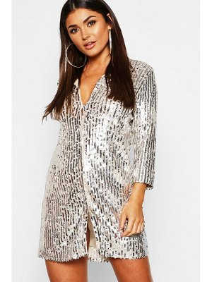 Boohoo Sequin Oversized Shirt Dress