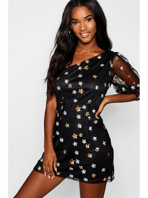 Boohoo Sequin Star Print One Shoulder Bodycon Dress