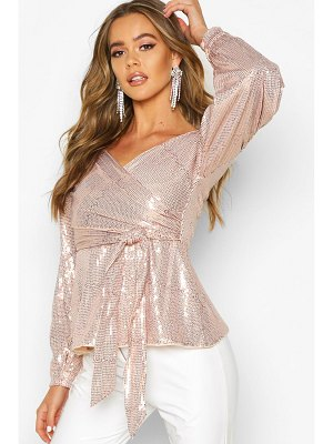 Boohoo Sequin Tie Waist Over The Shoulder Top