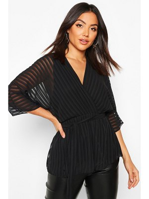 Boohoo Sheer Stripe Wrap Belted Blouse