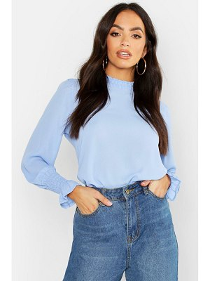 Boohoo Sheered High Neck & Cuff Blouse