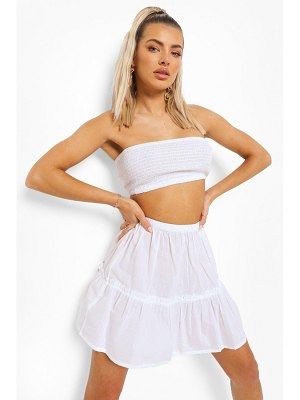 Boohoo Shirred Bandeau And Crop Beach Co-Ord