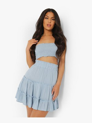 Boohoo Shirred Bandeau Woven Beach Top