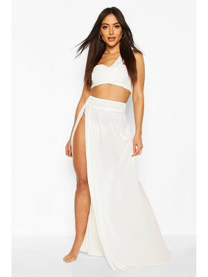Boohoo Shirred Crop Top & Split Trouser Co-Ord