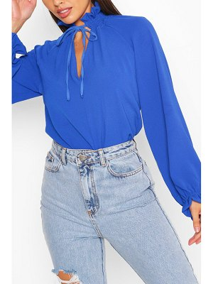 Boohoo Shirred High Neck Keyhole Blouse